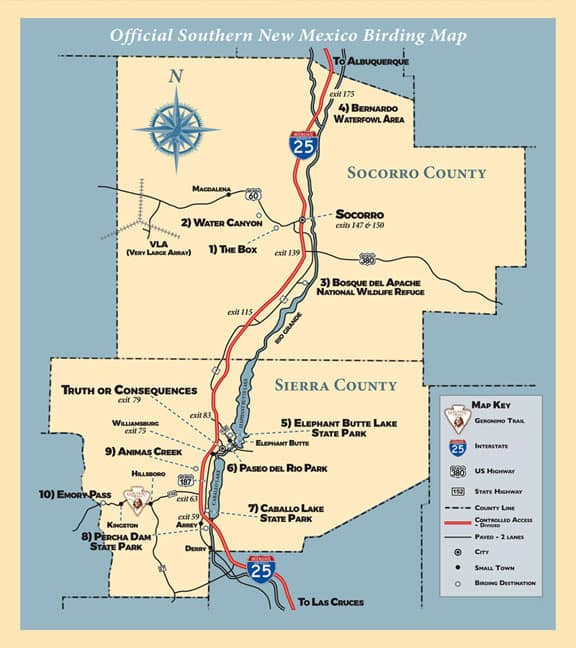 birding map for Sierra County and Socorro County