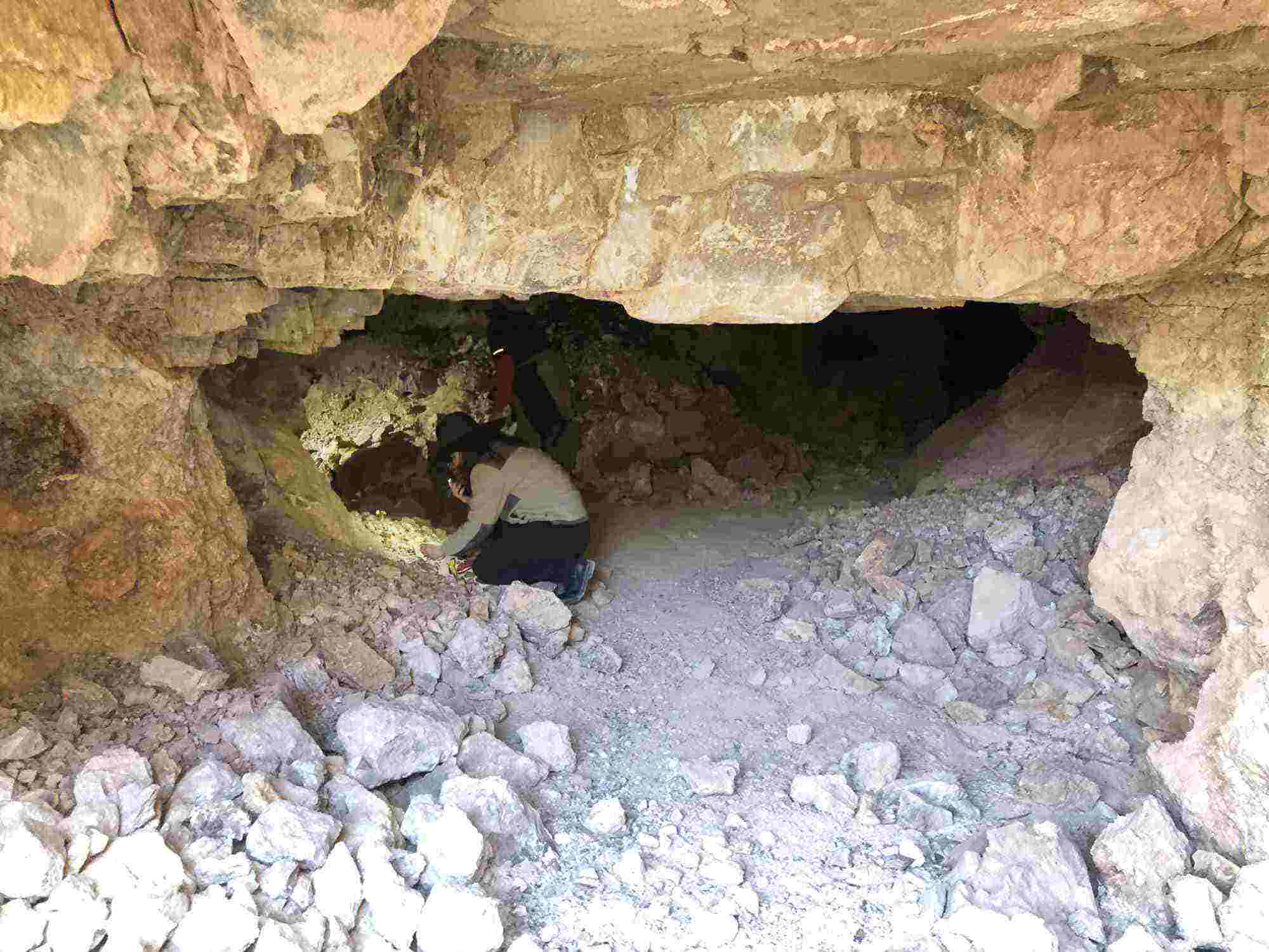 rock hunting in a cave, Sierra County NM
