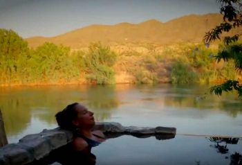 soaking in the hot springs of Truth or Consequences NM