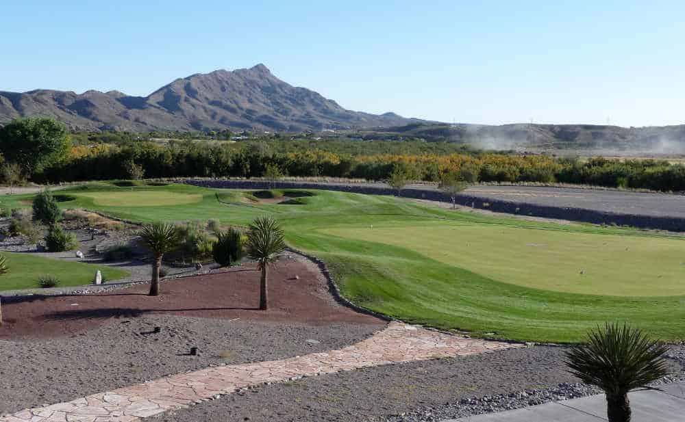 view of Turtle Mountain from Sierra del Rio Golf Course in Elephant Butte