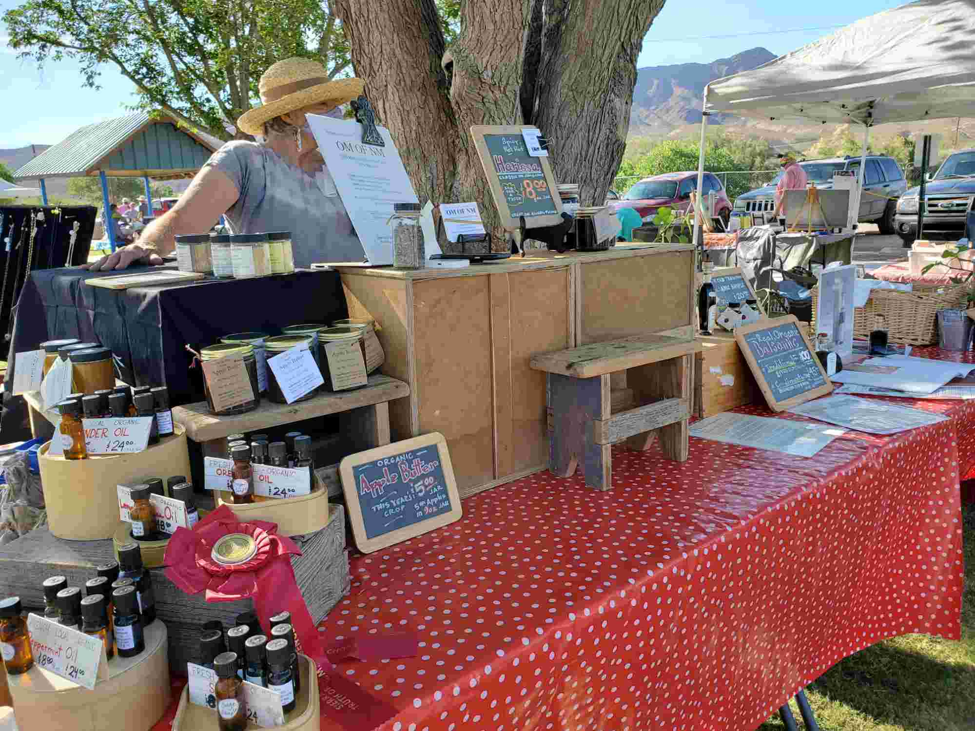 Old Monticello Farms booth at the Sierra County Farmers Market